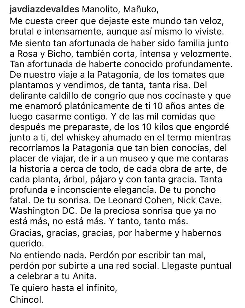 Javiera Díaz de Valdés sufre por la muerte de su ex marido