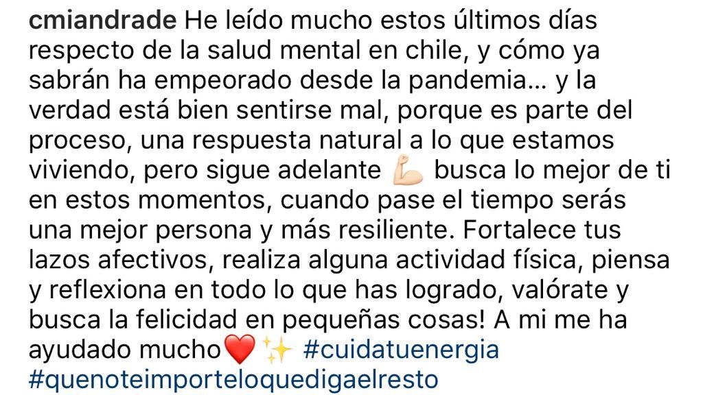 El mensaje de Camila Andrade tras rumores de su vida personal