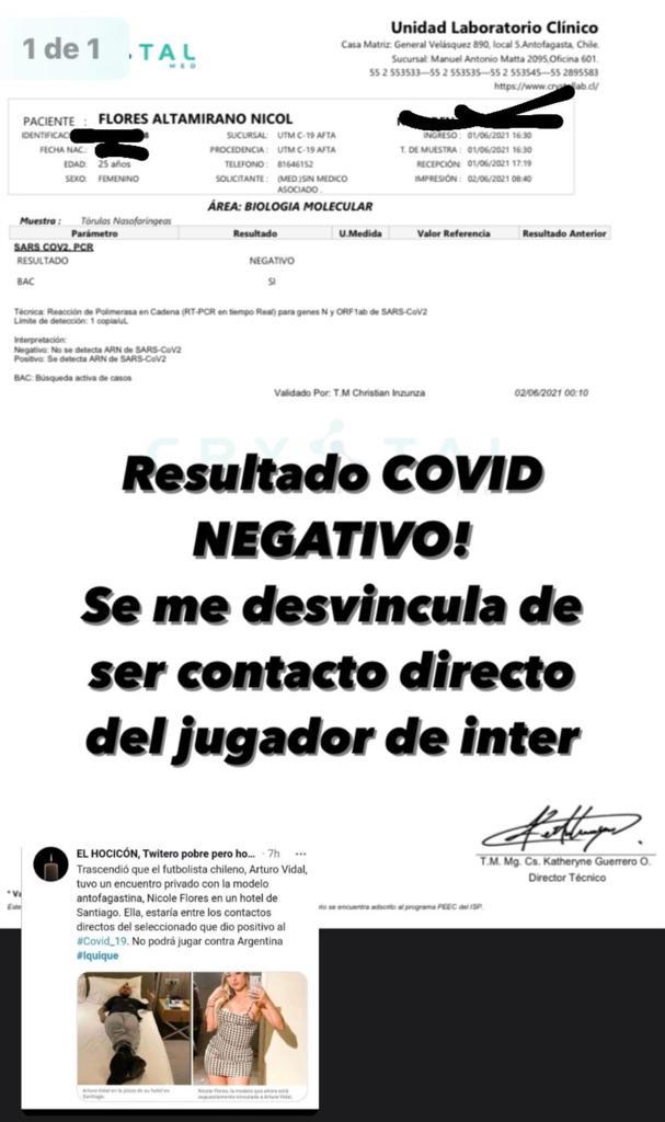 Promotora vinculada con Arturo Vidal da negativo por Covid