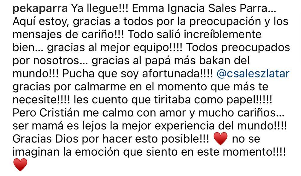 "Ingrid Parra se convirtió en madre: ""Soy afortunada"""