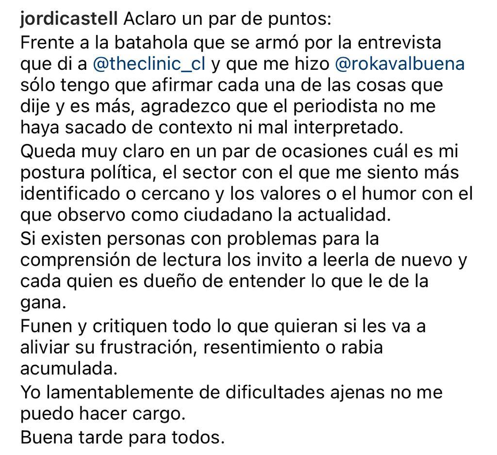 Jordi Castell defiende sus dichos en polémica entrevista
