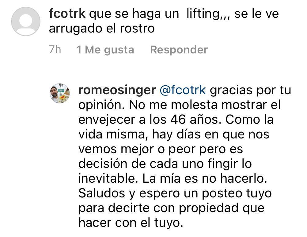 Romeo Singer responde a dura crítica por sus arrugas