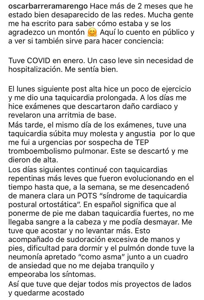 Ex MasterChef Chile revela duras consecuencias por el Covid 19