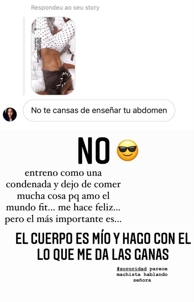 Julia Fernandes responde a crítica por exhibir su vientre plano