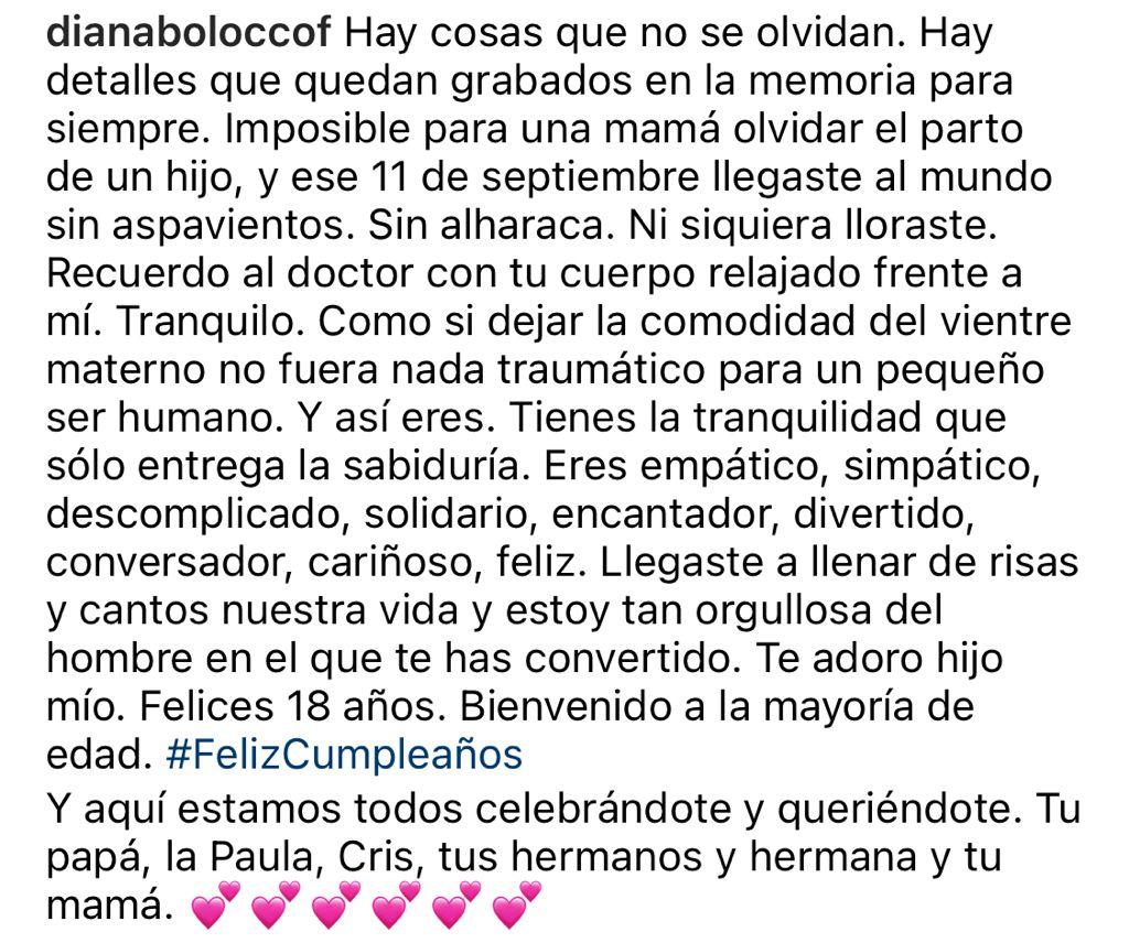Diana Bolocco celebra los 18 de su hijo Diego junto a ex marido