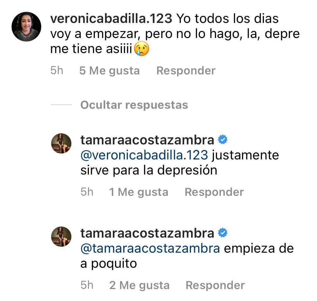 Tamara Acosta se muestra sin filtro tras entrenar en su casa