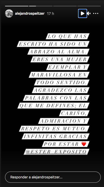 Ester Expósito y Alejandro Speitzer se dedican emotivos mensajes tras ruptura