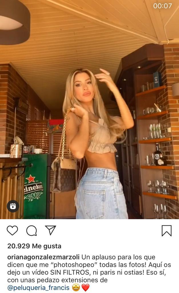 """Oriana Marzoli responde con video a quienes la acusan de """"photoshopeo"""""""