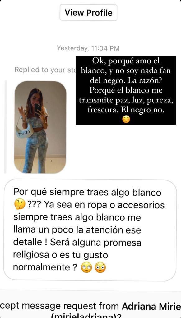 Aylén Milla se viste de blanco porque le transmite paz y luz
