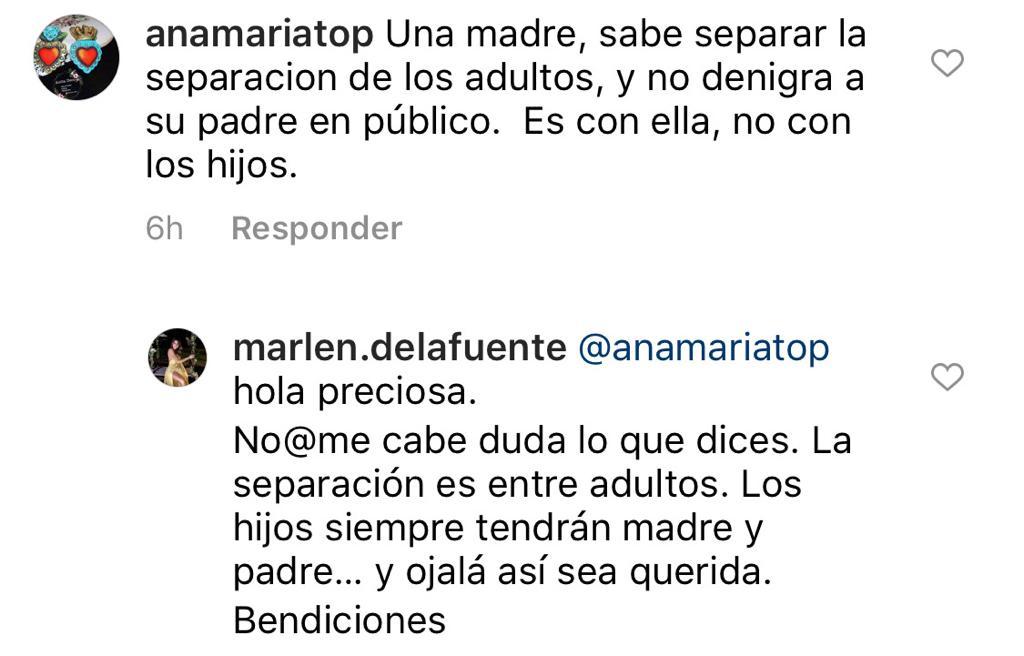 Marlene de la Fuente responde a crítica sobre su separación