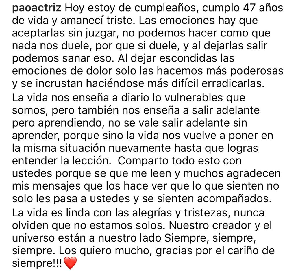 """""""Amanecí triste"""": Paola Troncoso se sincera en su cumpleaños"""