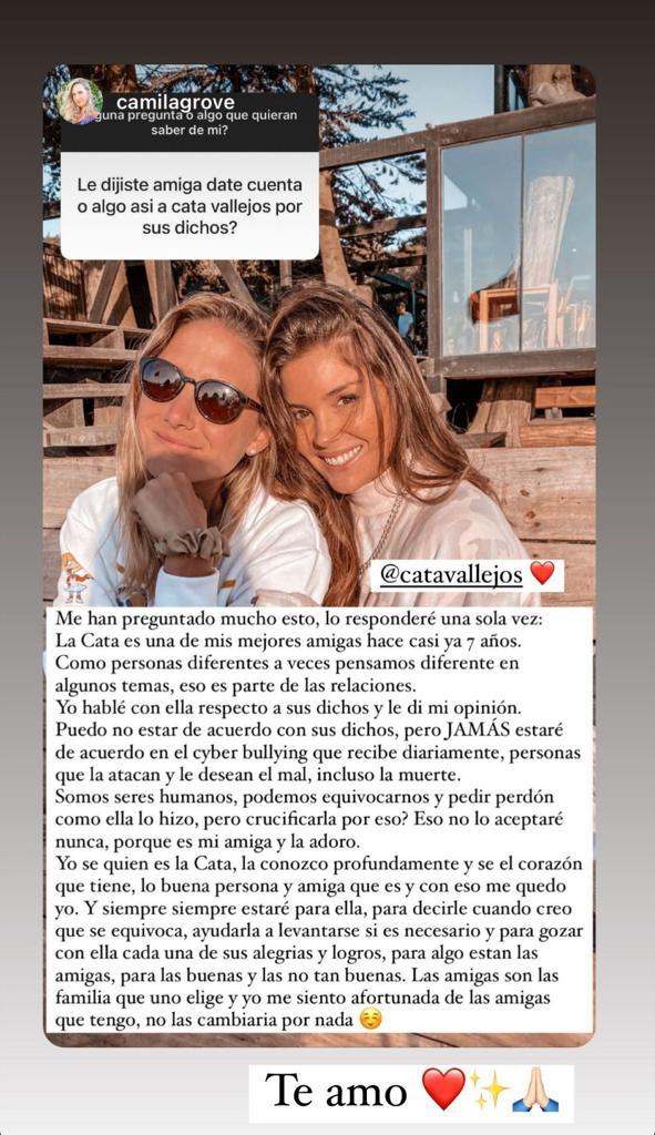 Cata Vallejos recibe férrea defensa de amiga influencer