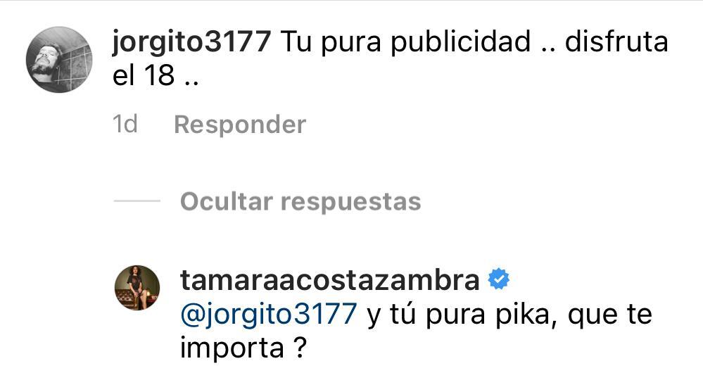 """Qué te importa"": Tamara Acosta responde a duras críticas"