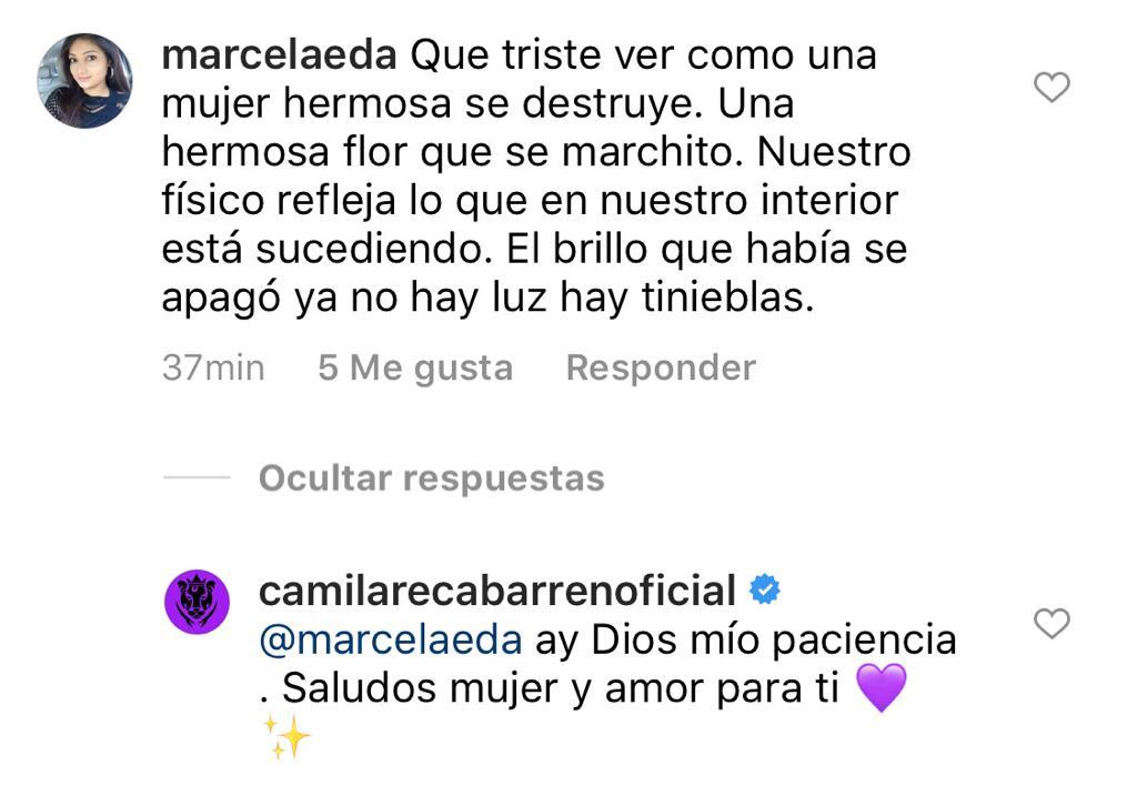 """""""Ya no hay luz"""": Camila Recabarren reacciona a duro comentario"""