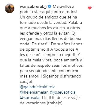 Gala Caldirola responde en redes al supuesto romance con Iván Cabrera