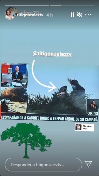 Titi González trepa árbol con Gabriel Boric