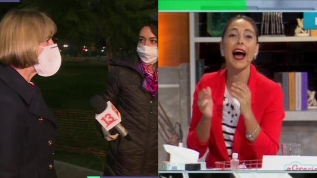 """Reto en vivo: Evelyn Matthei interrumpe móvil de """"Aquí somos todos ..."""