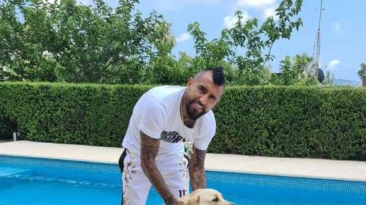 Arturo Vidal presentó los dos cachorros que le regaló a sus hijos