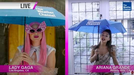 """Lady Gaga y Ariana Grande son las """"chicas del tiempo"""" en nueva promoción de """"Rain on Me"""""""