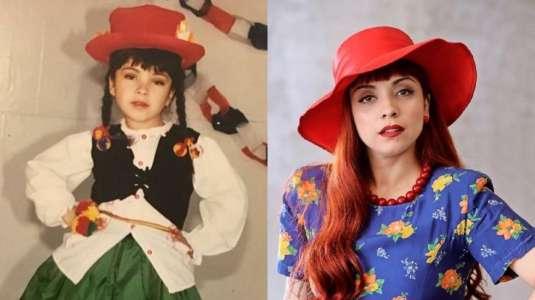 Mon Laferte hace divertida comparación entre fotos de su infancia y la actualidad