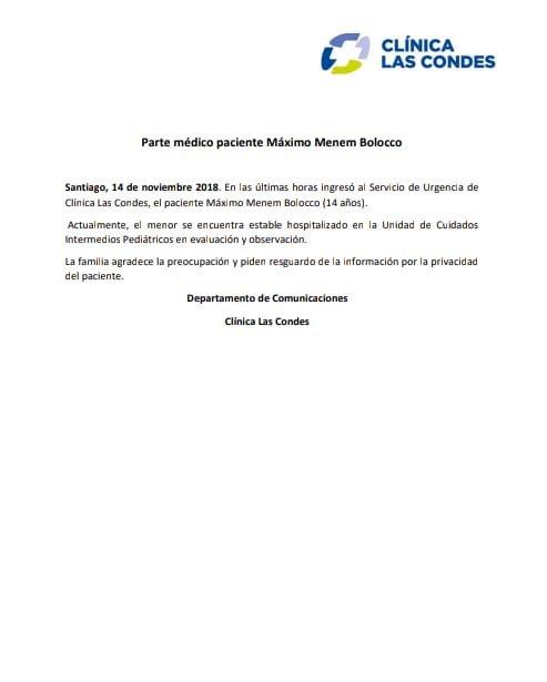 Chile: internaron de urgencia a Máximo Menem