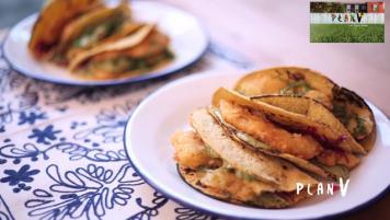 Tacos de merluza apanada