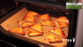 Mini empanadas de pollo asado, champiñones y camote
